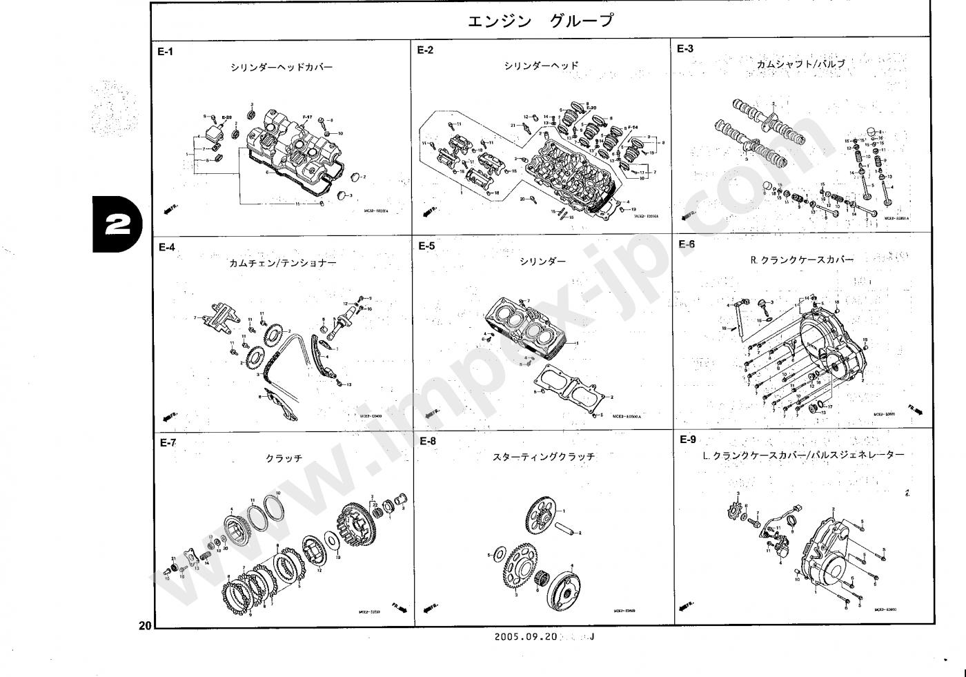 Motorcycle parts HONDA CB400 SUPER FOUR (TRAINING VEHICLE) NC39-180, 181,  182